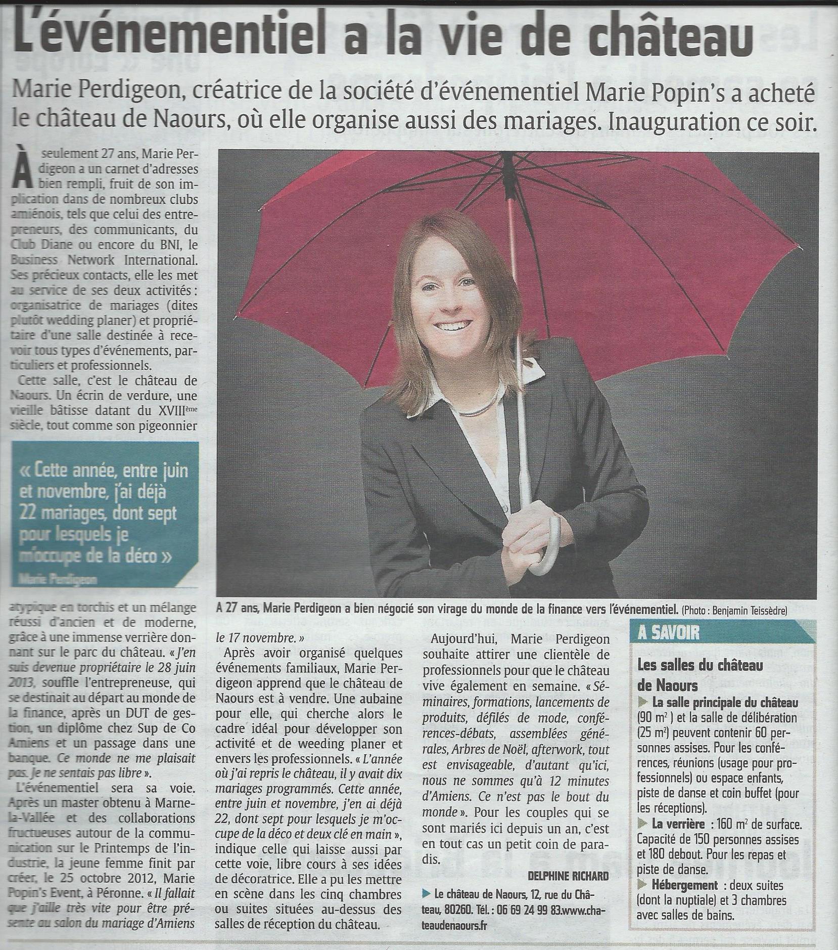 Article Courrier Picard Château de Naours