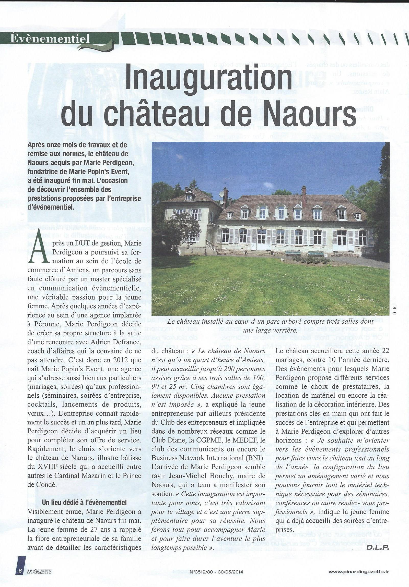 Inauguration du Château de Naours - Article de La Gazette